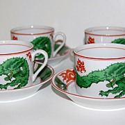 SALE 1975 Fitz and Floyd ~ Dragon Crest Cup & Saucer Set ~ Set of 4