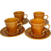 1970s Homer Laughlin ~ Golden Harvest Cups & Saucers ~ Set of 4
