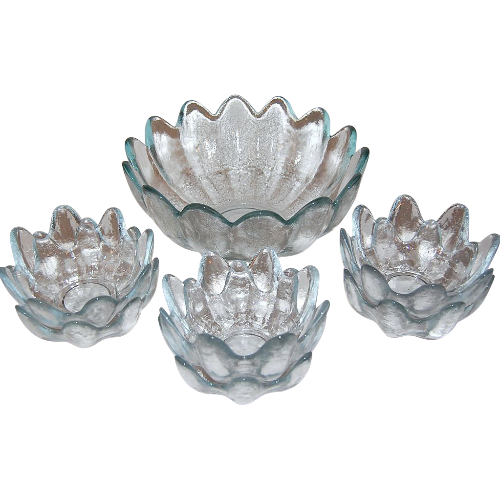 Blenko ~ Icy Blue Textured Petal Salad Bowl w/ 6 Bowls