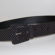 SALE 1980s Asymmetric Buckle ~ B&W Polka Dot Fabric Belt