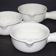 SALE Vintage HALL #644 ~ White Soup Bowl Pottery ~ Set of 3