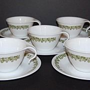 SALE 1970s Corelle ~ 10-Pc Crazy Daisy Hook Cups & Saucers