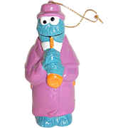 SALE VTG Cookie Monster Playing Saxophone Ornament