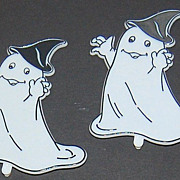 SALE VTG Set of 10 Halloween Ghost & Moon Cupcake Toppers