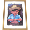 1973 Luis Cajiga ~  Little Boy in Straw Hat Serigraph