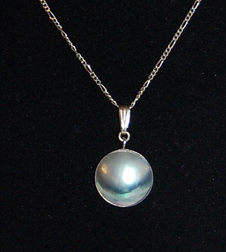 1950/60s Blister Pearl Pendant Sterling 925 Necklace