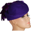 1980s Michael Howard ~ Purple Wool & Feather Hat