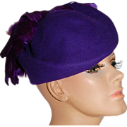 SALE 1980s Michael Howard ~ Purple Wool & Feather Hat
