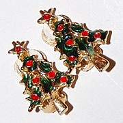 SALE 1950/60s Enamel Christmas Tree Earrings