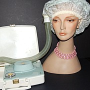 SALE 1950s General Electric ~ Stylette Light Blue Hair Dryer/Case