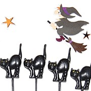 SALE VTG Set of 8 Puffy Halloween Black Cat Cupcake/Cake Toppers