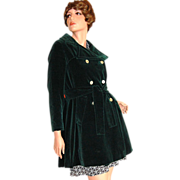 SALE 1960/70s Main Street ~ Forest Green Velvet Peacoat