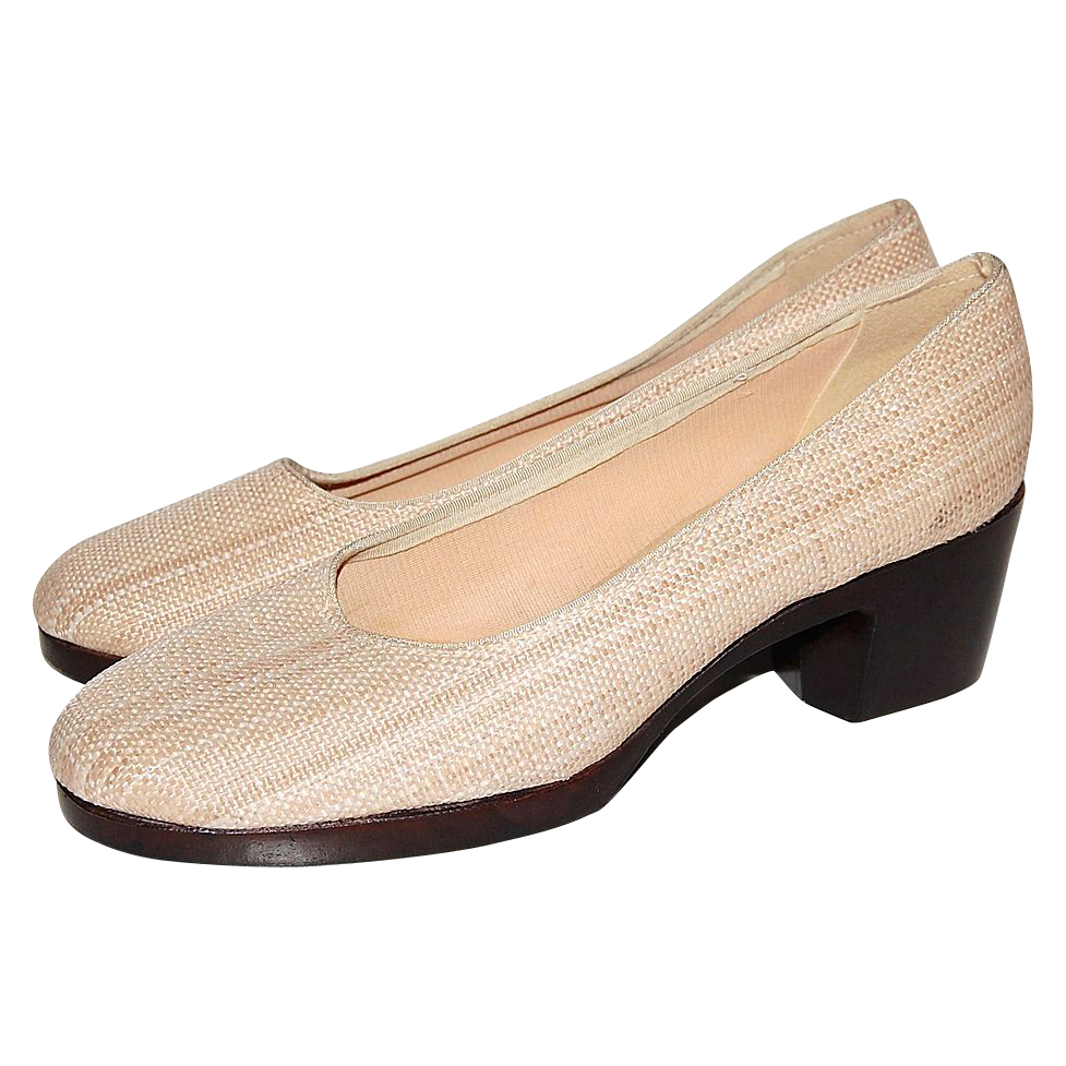 1970s browsabouts woven fabric wood platform shoes from