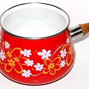 SALE 1960s Retro Red ~ Flower Power Fondue Pot