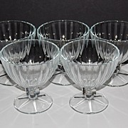 SALE Set of 5 Large Ice Cream/Dessert Pedestal Glasses