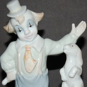 SALE Porcelain Clown w/ Puppy & Ball Figurine