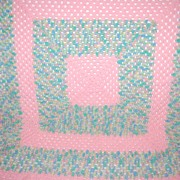 SALE VTG Pink Pastel Crochet Baby/Doll Blanket w/ Scalloped Border
