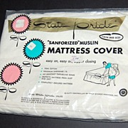 SALE 1950/60s Statepride ~ Cotton Twin Mattress Cover w/ Zipper