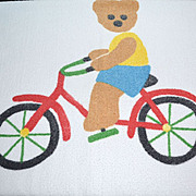 SALE 1980s Springmaid ~ Teddy Bear on Bicycle Bath Towel