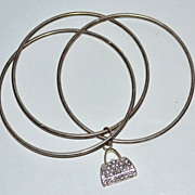 SALE 1980s Silverplate Bangle Bracelet w/ Rhinestone Purse Charm