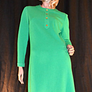 SALE 1960s Butte Knit ~ Green Textured Stripe Dress ~ ILGWU