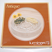 SALE Luminarc ~ Antique Pattern Divided Relish Dish w/ Box