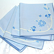 SALE VTG Set of 4 Blue Textured Floral Dinner Napkins
