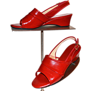SALE 1970s Daniel Green ~ Cherry Red Slip-On Wedge Heels