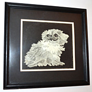 SALE 1979 Chip Stokes ~ Shih Tzu Pup Framed Etching Print