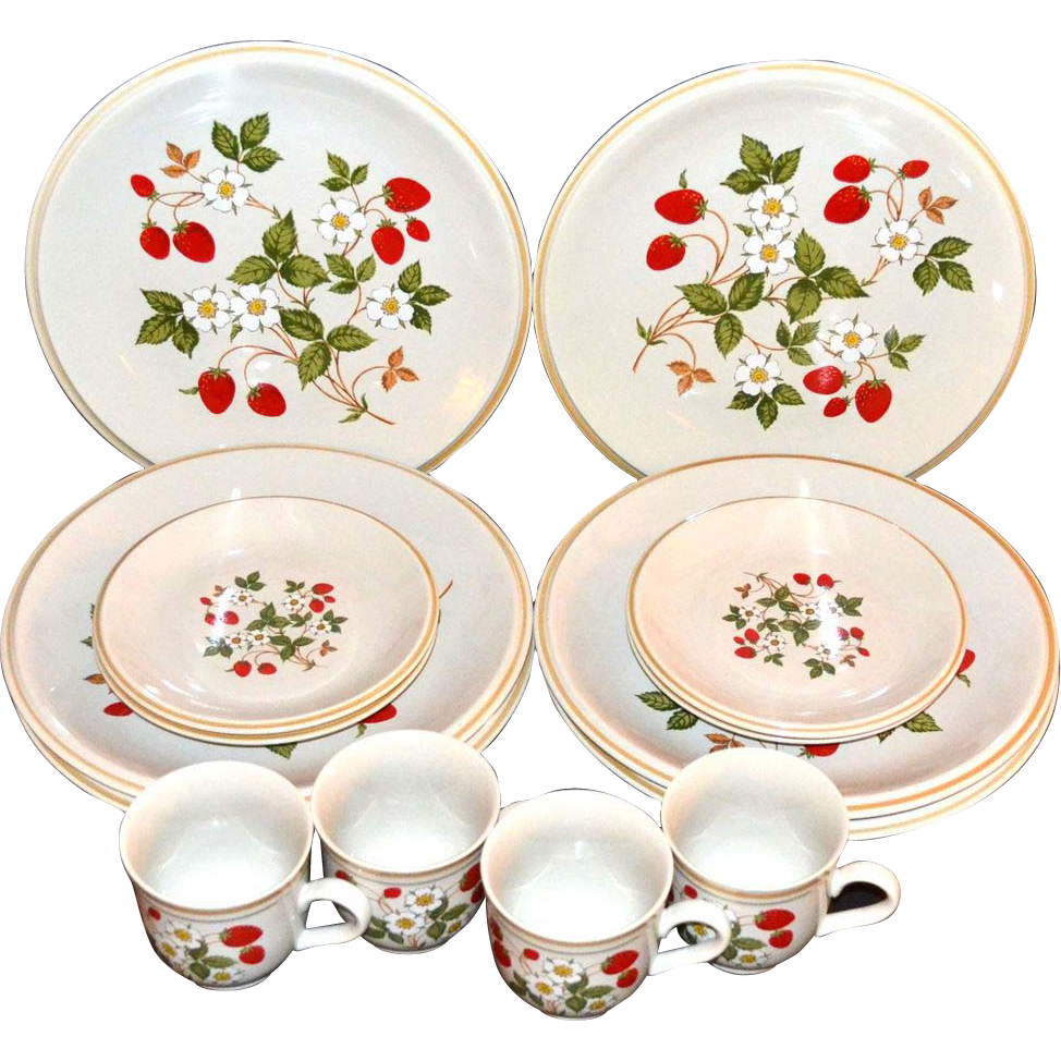 Sheffield ~ Strawberries n' Cream 16-Pc Dinnerware Set