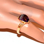 SALE 1970s Faceted Deep Purple Glass Goldtone Ring