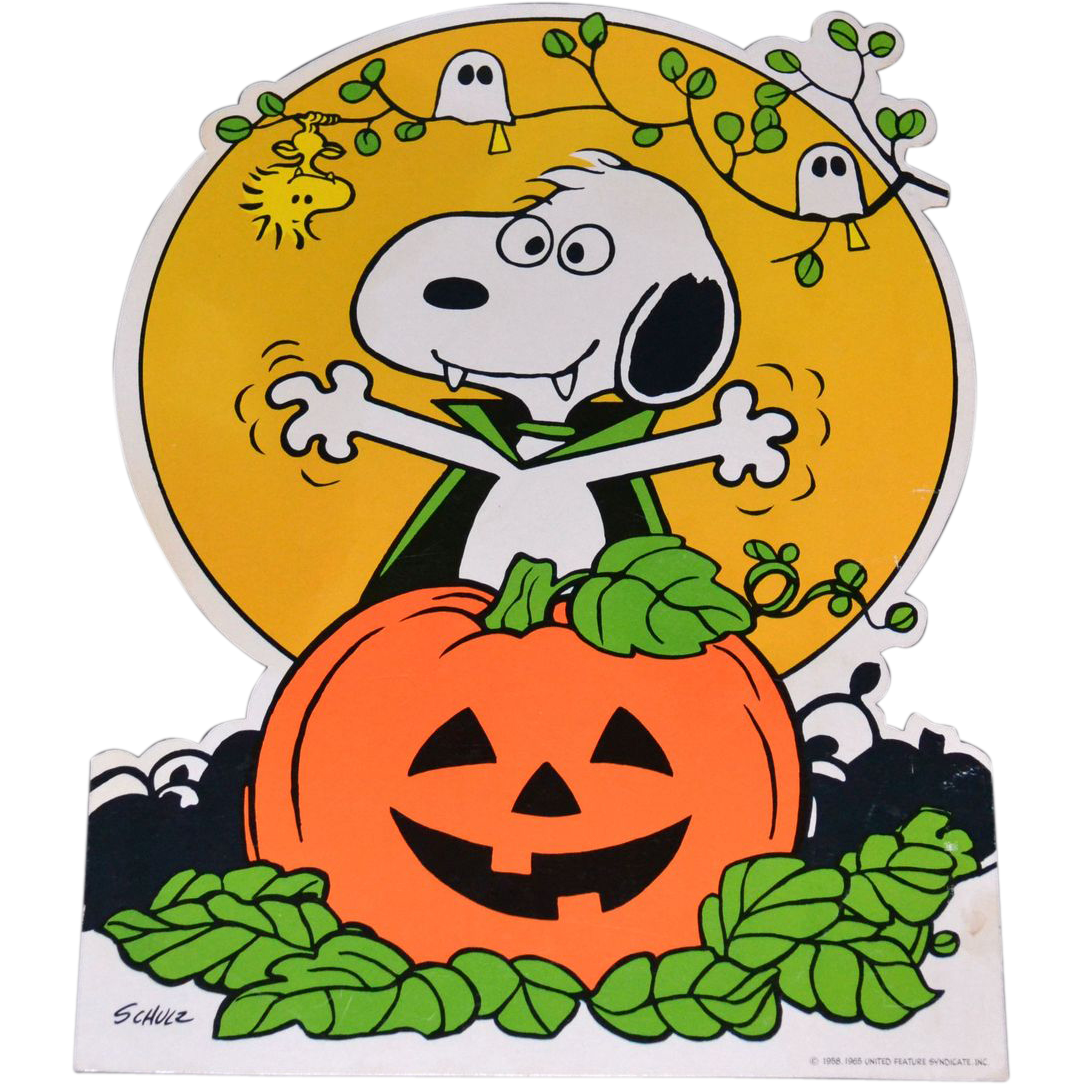 1965 Halloween Snoopy with Jack-o-Lantern Die Cut