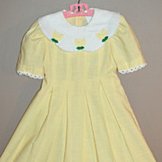 SALE 1980s Peaches n' Cream ~ Buttercup Yellow Girl's Dress w/ Scalloped Collar