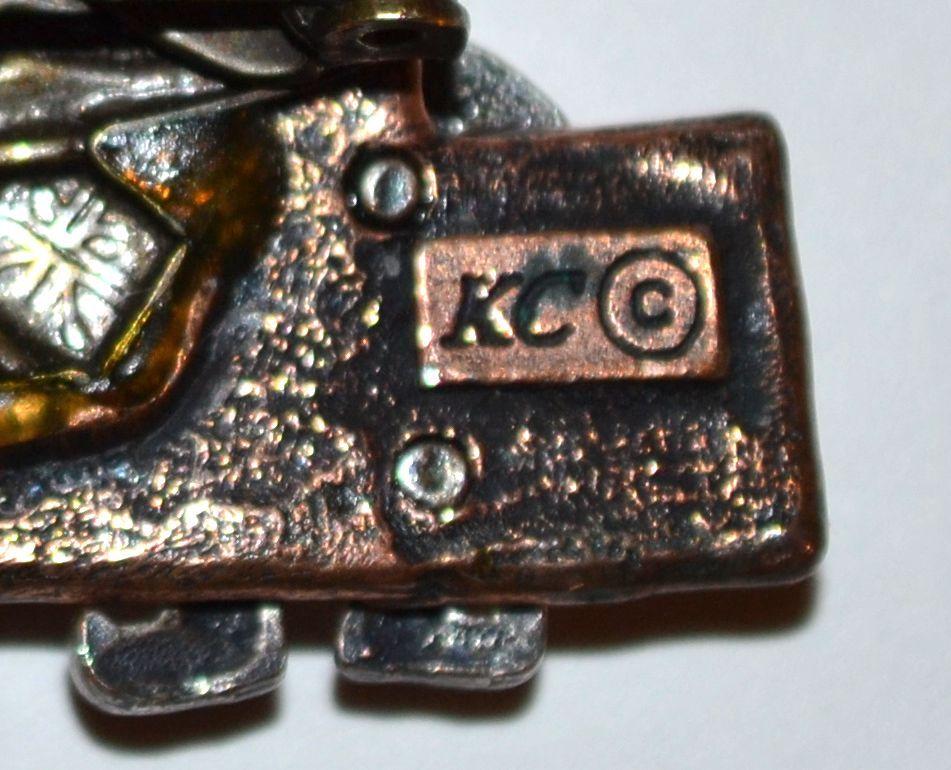 Kc Signed Enamel  U0026 Triple Metal Christmas Elf  U0026 Tree Pin