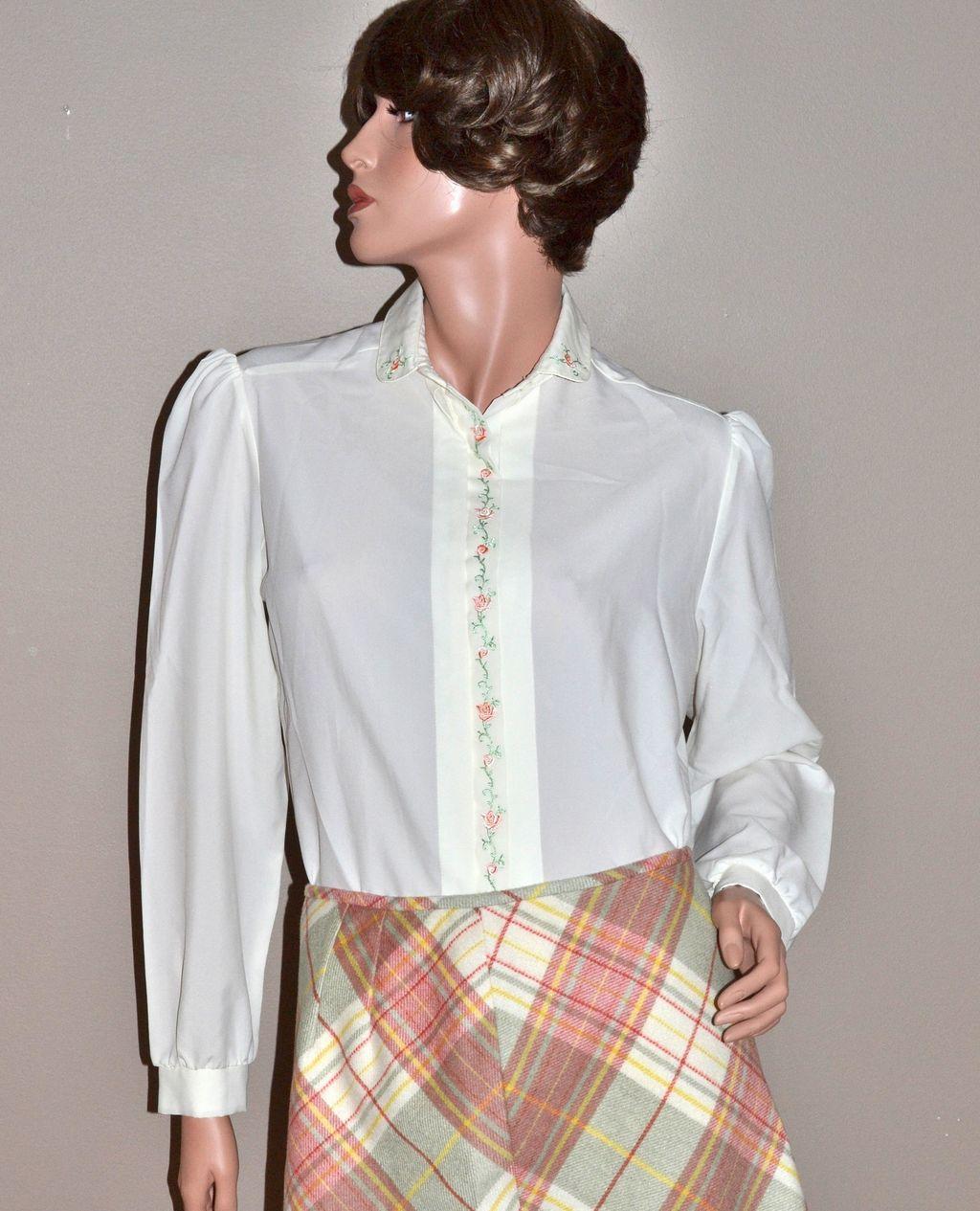 1970s Inner Visions Ship N Shore White Blouse Shirt
