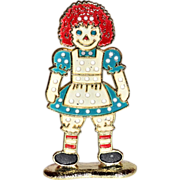 SALE 1970s Raggedy Ann Enamel Earring Holder