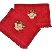 SALE Cannon ~ Set of 2 Christmas Bell Red Fingertip Towels