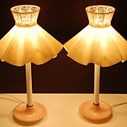 SALE Set of 2 Pink Milk Glass Candlewick Style Lamps