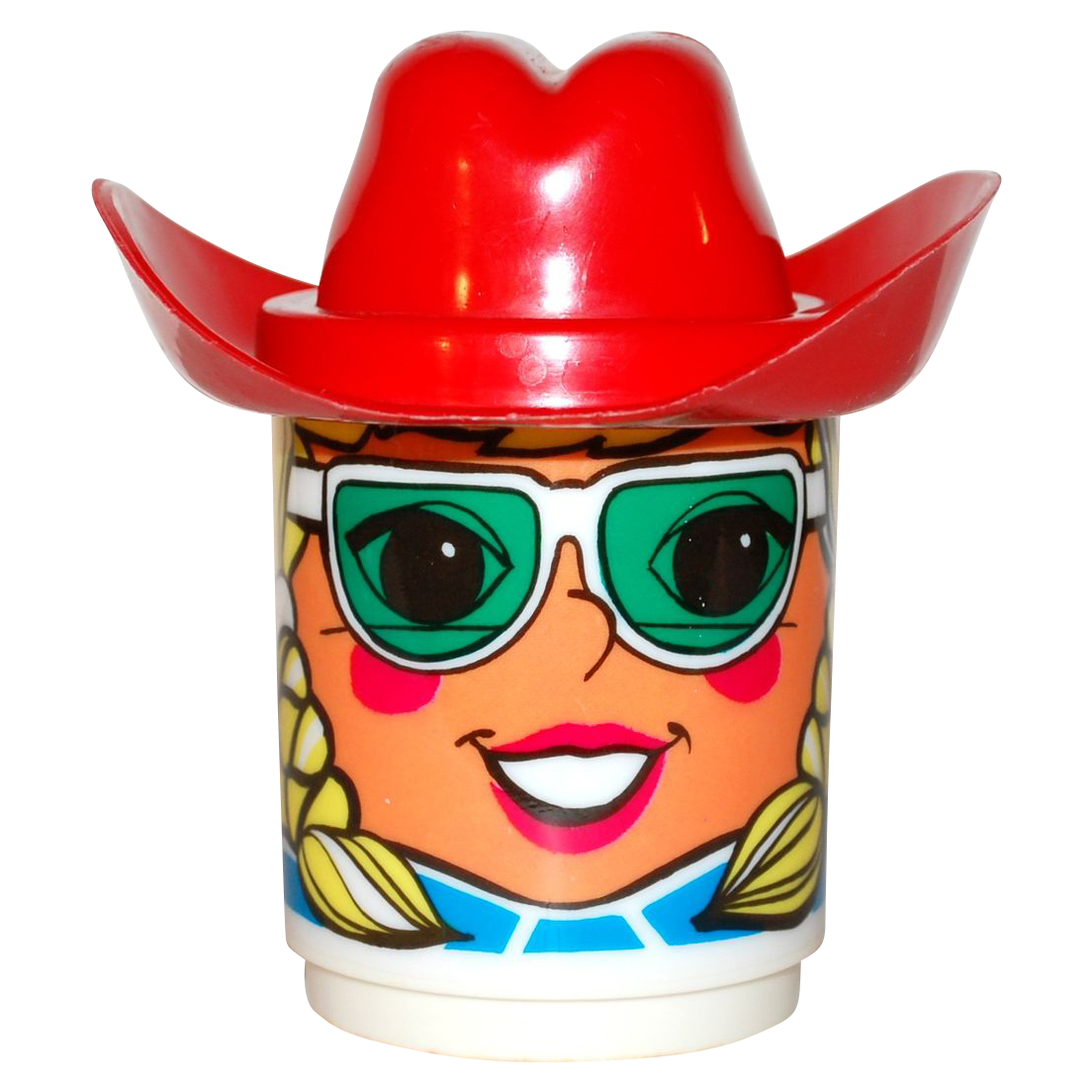 1970s Deka ~ Blonde Girl Mug w/ Red Cowboy Hat