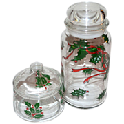 SALE Set of 2 Christmas Holly Glass Candy Jars