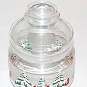 SALE 1970s Snowy Tree Christmas Candy Jar