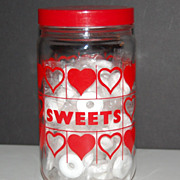 "SALE Red Heart ""Sweets"" Glass Canister Jar w/ Lid"