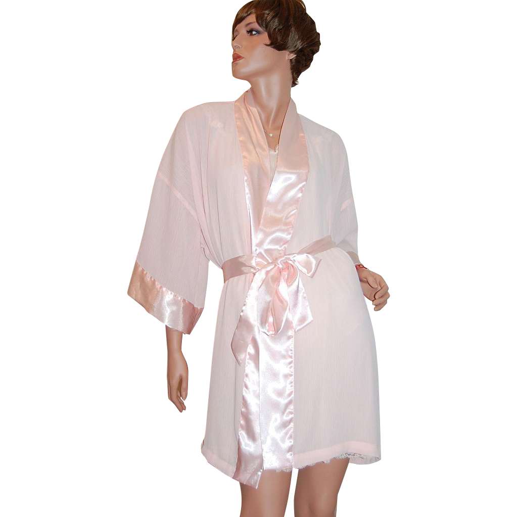 1980s Victoria's Secret ~ Sheer Pink Pleated Robe