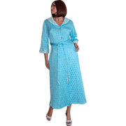 SALE 1940/50s Quilted Powder Blue & Lace Belted Maxi Robe