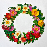 SALE Large Glossy Floral Wreath Die-Cut Scrap