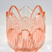 SALE Fenton ~ Sculpted Pink Glass Tulip Candle Holder
