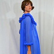 SALE 1960s ILGWU Royal Blue Chiffon Maxi Peignoir Robe