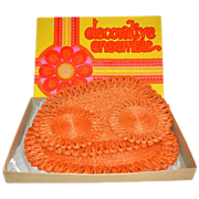 SALE 1960s Flower Power 4-Pc Orange Woven Abaca Hot Pads/Trivets ~ Mint in Box!