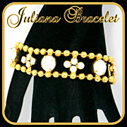 Vintage Juliana (D&E) Ball Chain & Milk Glass Rhinestone Bracelet