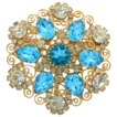 Huge Vintage Juliana (D&E) Aqua & Clear Rhinestone & Heart Scroll Brooch